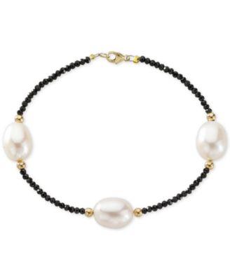 Cultured Freshwater Pearl (10mm) & Black Spinel Bracelet in 14k Gold
