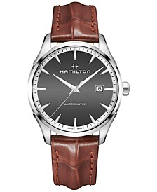 Men's Swiss Jazzmaster Light Brown Leather Strap Watch 40mm