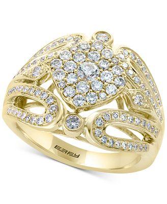 D Oro By Effy 174 Diamond Cluster Ring 1 Ct T W In 14k