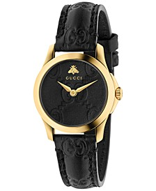 Women's Swiss G-Timeless Black Leather Strap Watch 27mm