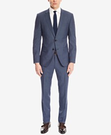 BOSS Men's Slim-Fit Micro-Check Virgin Wool Suit