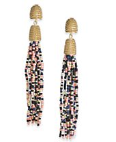 INC International Concepts Gold-Tone Beaded Drop Earrings, Created for Macy's