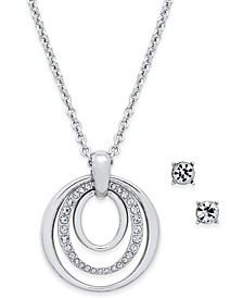 Pavé Pendant Necklace & Crystal Stud Earrings Set, Created for Macy's