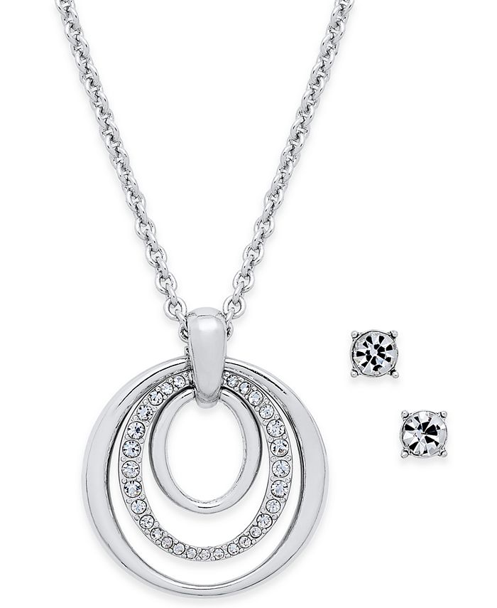 Charter Club - Pavé Pendant Necklace & Crystal Stud Earrings Set