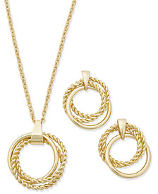Charter Club Gold-Tone Multi-Circle Pendant Necklace & Drop Earrings Box Set, Created for Macy's