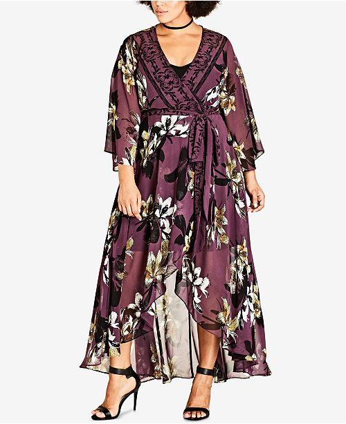 City Chic Trendy Plus Size Kimono Maxi Dress Dresses Plus Sizes
