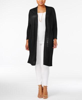 Alfani Plus Size Linen-Cotton Duster Cardigan, Created for Macy's ...