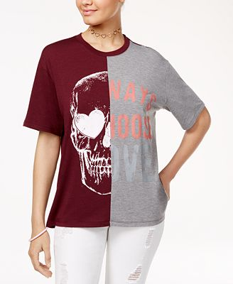 Love Tribe Juniors' Skull Choose Love Graphic T-Shirt with Bracelet