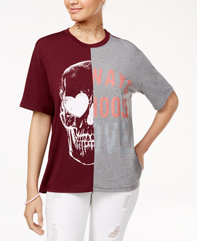 Love Tribe Juniors' Skull Choose Love Graphic T-Shirt with Bracelet