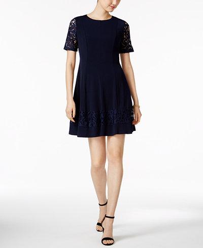 Jessica Howard Petite Lace Sleeve Fit Amp Flare Dress