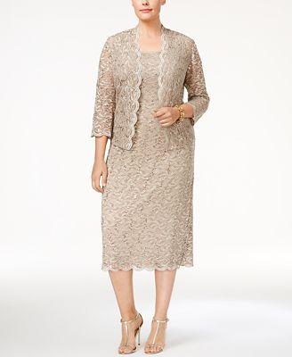 Alex Evenings Plus Size Sequin Lace Dress Jacket Dresses Women