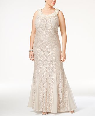 R M Richards Plus Size Embellished Lace Gown Dresses Women