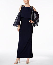 Vince Camuto Cold-Shoulder Capelet Gown