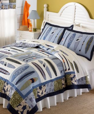 Catch a Wave Reversible 2-Pc. Cotton Twin Quilt Set