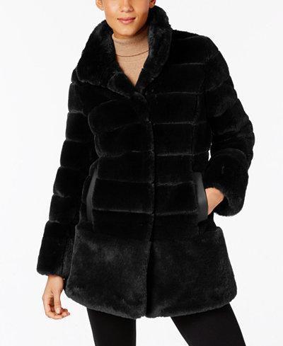 Jones New York Petite Faux-Fur Seamed Coat - Coats - Petites - Macy's
