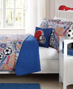 Laura Hart Kids Sports Express Circles Reversible 4Pc Full Quilt Set Bedding