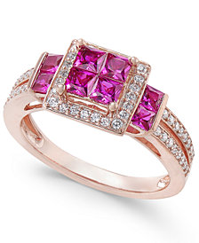 Certified Ruby (1 ct. t.w.) & Diamond (1/4 ct. t.w.) Ring in 14k Rose Gold