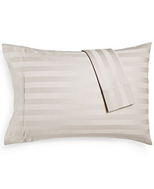 AQ Textiles Bergen Stripe Certified 100% Egyptian Cotton 1000-Thread Count King Pillowcases, Set of 2