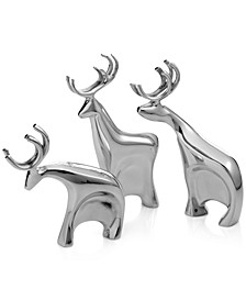 Blitzen Reindeer Figurines, Set of 3