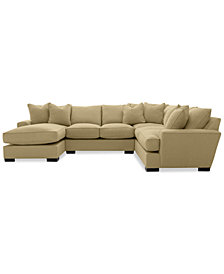 Ainsley 3 Piece Fabric Chaise Sectional Sofa With 6 Toss Pillows, Created  For Macyu0027s