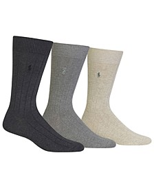 3 Pack Cotton Rib Casual Men's Socks