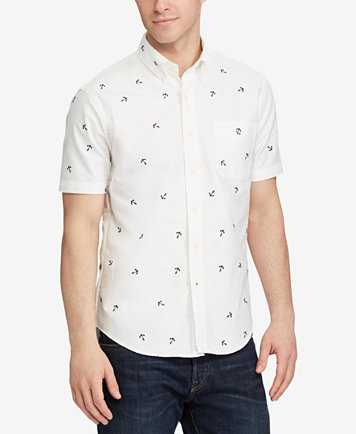 Polo Ralph Lauren Men's Standard Fit Embroidered Anchor Print Oxford Shirt  - Casual Button-Down Shirts - Men - Macy's