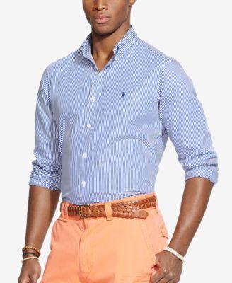 Polo Ralph Lauren Mens Striped Button Down Poplin Dress Shirt