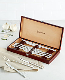 Wüsthof 10-Piece Steak Knife and Carving Set in Rosewood-Colored Presentation Chest