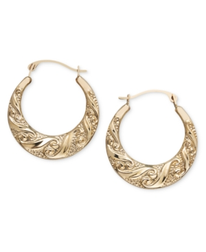 10k Gold Scroll Hoop Earrings