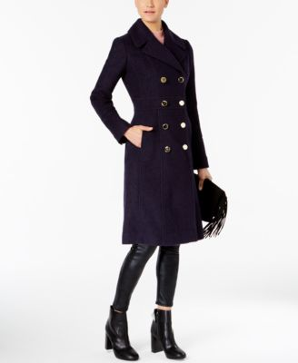 Gray Knee Length Pea Coat