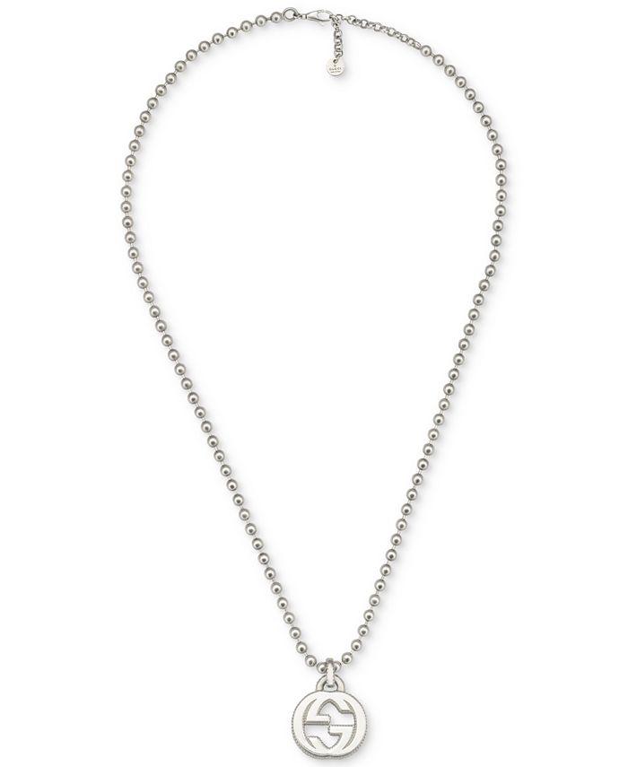 Gucci - Interlocking G Logo Pendant Necklace in Sterling Silver YBB47921700100U