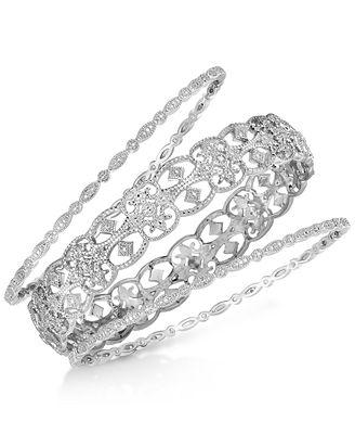 3 Pc Set Diamonds Bangle Bracelets in Sterling Silver Bracelets