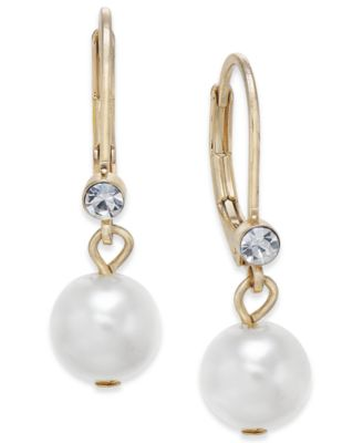 Image of Charter Club Gold-Tone Small Crystal Imitation Pearl Drop Earrings