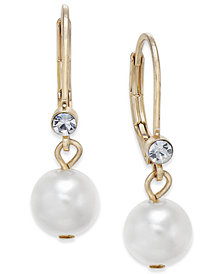 Charter Club Gold-Tone Small Crystal Imitation Pearl Drop Earrings