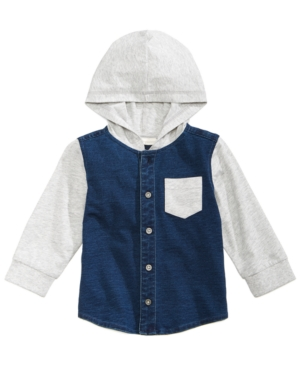 First Impressions LayeredLook Hooded Denim Shirt Baby Boys (024 months) Created for Macys