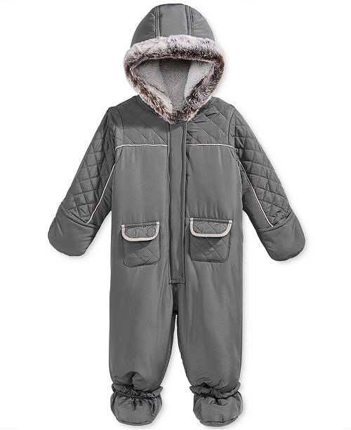 826cc1b7a First Impressions Quilted Footed Snowsuit with Faux Fur Trim