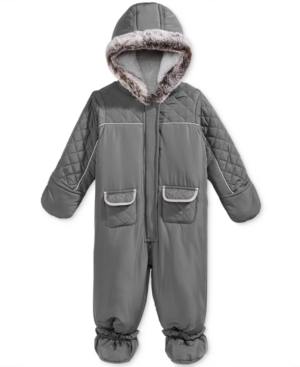 First Impressions Quilted Footed Snowsuit with Faux Fur Trim Baby Boys (024 months) Created for Macys