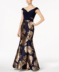 Xscape Printed Mermaid Gown