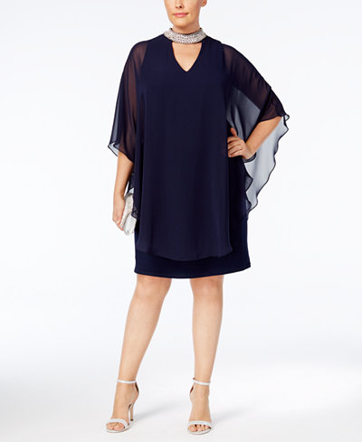 Xscape Plus Size Embellished Chiffon-Overlay Dress - Dresses ...