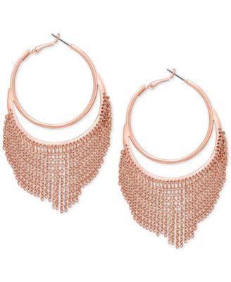 GUESS Rose GoldTone Chain Fringe Hoop Earrings Fashion Jewelry