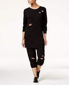 Material Girl Active Juniors' Ripped Sweatshirt Dress & Sweatpants, Created for Macy's
