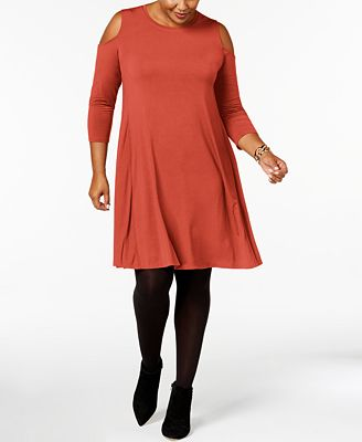 style & co plus size cold-shoulder dress, created for macy's