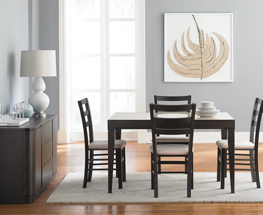 Café Latte 5-Piece Dining Set: Glass Top Dining Table and 4 ...