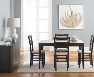Café Latte 5 Piece Dining Set: Glass Top Dining Table And 4 Slatback Chairs