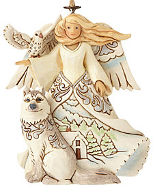 Jim Shore White Woodland Angel With Husky Hanging Ornament