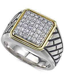 Esquire Men's Jewelry Diamond Two-Tone Ring (3/4 ct. t.w.) in Sterling Silver & 14k Gold, Created for Macy's