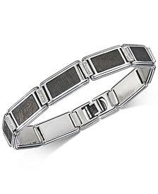 Esquire Men's Jewelry Diamond (1/5 ct. t.w.) & Meteorite Link Bracelet in Sterling Silver, Created for Macy's