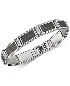 Esquire Men's Jewelry Diamond (1/5 ct. t.w.) & Meteorite Link Bracelet in Sterling Silver, Created for Macy's