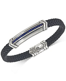 Sapphire Black Woven Leather Bracelet (1/3 ct. t.w.) in Sterling Silver, Created for Macy's