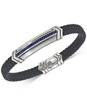 a6fba7e10 Esquire Men's Jewelry Sapphire Black Woven Leather Bracelet (1/3 ct. t.w.)